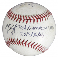 """Billy Williams & Kris Bryant Signed Game-Used OML Baseball Inscribed """"NL ROY"""" & """"Tied Rookie Record 9 / 19 / 15"""" (MLB Hologram & Fanatics Hologram) at PristineAuction.com"""