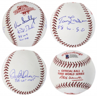 Dodgers 1988 World Series Baseball Signed by (4) with Tommy Lasorda, Vin Scully, Orel Hershiser & Kirk Gibson With Multiple Inscriptions (Beckett COA) at PristineAuction.com