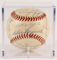 1953 Yankees OAL Baseball Team-Signed by (25) with Mickey Mantle, Whitey Ford, Phil Rizzuto, Johnny Mize, Yogi Berra with Display Case (JSA LOA) at PristineAuction.com