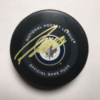 Patrik Laine Signed Jets Logo Hockey Puck with Display Case (Beckett COA) at PristineAuction.com