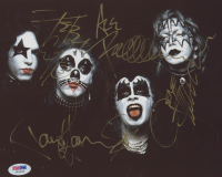 KISS 8x10 Photo Band-Signed by (4) with Paul Stanley, Gene Simmons, Ace Frehley & Peter Criss (PSA Hologram) at PristineAuction.com