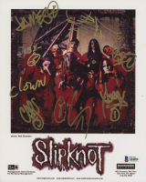 Slipknot 8x10 Photo Band-Signed by (9) with Corey Taylor, Shawn Crahan, Paul Gray, Jim Root, Craig Jones (Beckett LOA) at PristineAuction.com