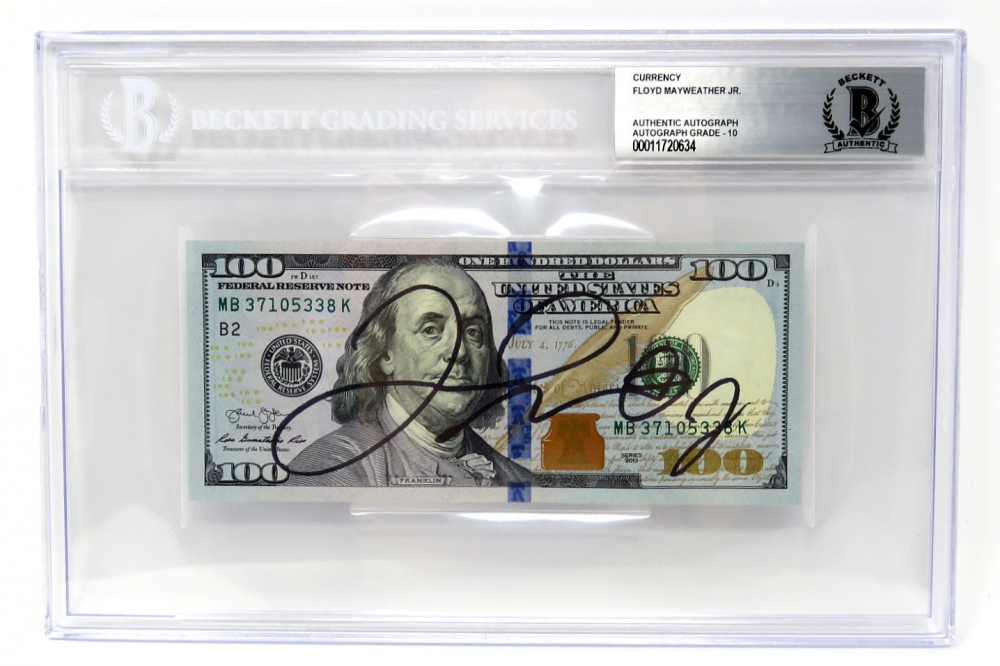 Floyd Mayweather Jr. Signed $100 Dollar Bill (BGS Encapsulated) at PristineAuction.com