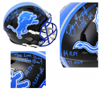 Barry Sanders Signed Lions Full-Size Matte Black Speed Helmet with (7) Career Stat Inscriptions (Schwartz Sports COA) at PristineAuction.com