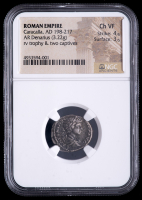 Caracalla. AD 198-217 - Roman Empire. AR Denarius, Rome Mint Ancient Silver Coin (NGC Ch VF) Strike: 4/5, Surface: 3/5 at PristineAuction.com
