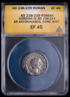 Gordian III. AD 238-244 - Roman Empire. AR Antoninianus, Rome Mint Ancient Silver Coin (ANACS EF45) at PristineAuction.com