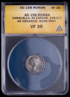 Caracalla as Caesar. AD 198-217 - Roman Empire AR Denarius, Rome Mint Ancient Silver Coin (ANACS VF35) at PristineAuction.com