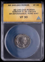 Gordian III. AD 238-244 - Roman Empire AR Antoninianus Rome Mint Ancient Silver Coin (ANACS VF30) at PristineAuction.com