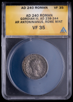 Gordian III. AD 238-244 - Roman Empire AR Antoninianus Rome Mint Ancient Silver Coin (ANACS VF35) at PristineAuction.com