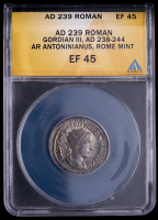 Gordian III. AD 238-244 - Roman Empire AR Antoninianus Rome Mint Ancient Silver Coin (ANACS EF45) at PristineAuction.com