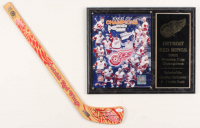 Lot of (2) Red Wings items with Steve Yzerman Signed Mini Hockey Stick & 12x15 2002 Stanley Cup Champions Photo Plaque Display (JSA COA) at PristineAuction.com