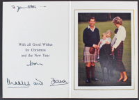 """Princess Diana & Prince Charles Signed 5x7.25 1985 Christmas Postcard Inscribed """"From"""" & """"And"""" (Beckett LOA) at PristineAuction.com"""