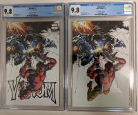 "Lot of (2) 2018 ""Venom"" Issue #1 Marvel Comic Books with Clayton Crain Limited Variant (CGC 9.8) & Clayton Crain Virgin Limited Variant (CGC 9.8) at PristineAuction.com"