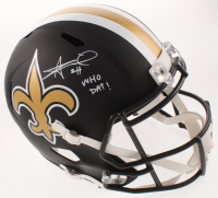 "Alvin Kamara Signed Saints Full-Size Matte Black Speed Helmet Inscribed ""Who Dat!"" (Beckett COA) at PristineAuction.com"