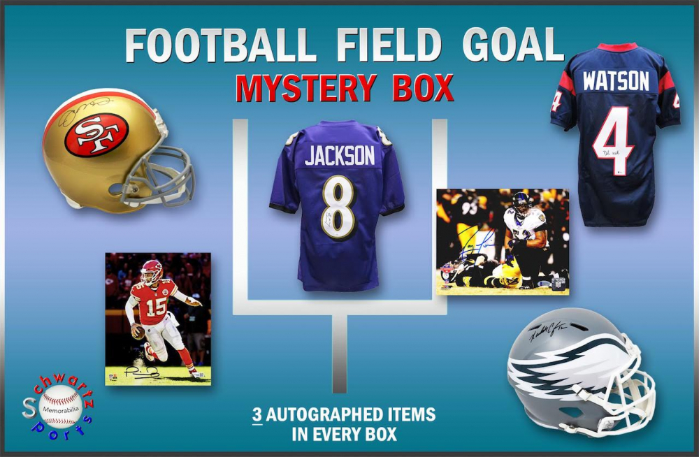 Schwartz Sports Football FIELD GOAL Mystery Box - Series 2 (Limited to 100) (3 Autographed Items per Box) at PristineAuction.com