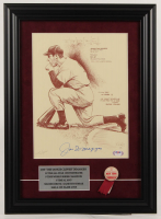 Joe DiMaggio Signed LE Yankees 13.5x18.5 Custom Framed Bill Gallo Hand-Numbered Art Lithograph Display with Yankees Pin (PSA LOA) at PristineAuction.com