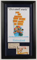 """Disneyland Fantasyland's """"It's A Small World"""" 16.5x27.5 Custom Framed Print Display with Vintage Postcard Booklet & Ticket at PristineAuction.com"""