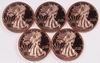 Lot of (5) 1 oz .999 Fine Copper Walking Liberty Rounds at PristineAuction.com