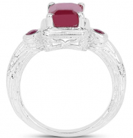 Ruby Glass Filled .925 Sterling Silver Ring at PristineAuction.com