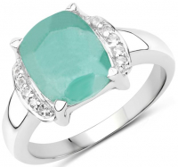 Topaz & Emerald Dyed Cushion .925 Sterling Silver Ring at PristineAuction.com