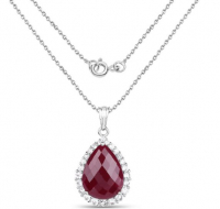 Topaz & Ruby Dyed Pears .925 Sterling Silver Necklace at PristineAuction.com
