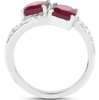 Topaz White Round & Ruby Glass Filled Cushion .925 Sterling Silver Ring at PristineAuction.com