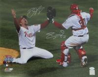 Brad Lidge & Carlos Ruiz Signed Phillies 2008 World Series 16x20 Photo (JSA COA) at PristineAuction.com