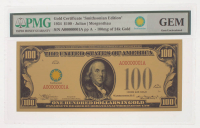 "1934 $100 One Hundred Dollars ""Smithsonian Edition"" Gold Certificate (PMG Gem Uncirculated) at PristineAuction.com"