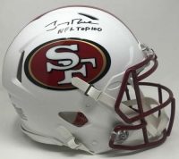 "Jerry Rice Signed 49ers LE Full-Size Authentic On-Field Matte White Speed Helmet Inscribed ""NFL Top 100"" (Fanatics Hologram) at PristineAuction.com"