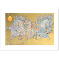 """Guillaume Azoulay Signed """"Lever De Soleil"""" Limited Edition 38x27 Serigraph with Hand Laid Gold Leaf #50/50 at PristineAuction.com"""