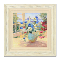 "S. Burkett Kaiser Signed ""Daisies & Pansies"" Limited Edition 35x35 Custom Framed on Canvas AP #1/5 at PristineAuction.com"