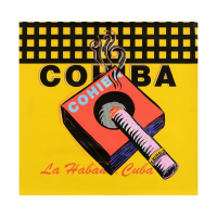 """Steve Kaufman Signed """"Cohiba"""" 24x24 One-of-a-Kind Mixed Media on Canvas at PristineAuction.com"""