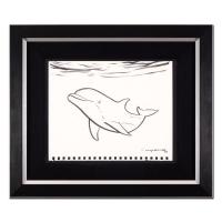 "Wyland Signed ""Dolphin"" 20x17 Custom Framed Original Sketch at PristineAuction.com"