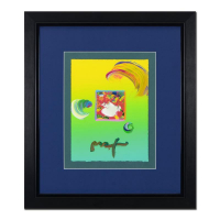 "Peter Max Signed ""Woman In Love"" 19x21 Custom Framed One-Of-A-Kind Acrylic Mixed Media at PristineAuction.com"