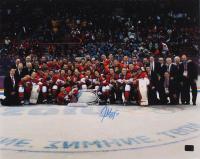 Patrice Bergeron Signed Team Canada Sochi Olympics Gold Medal 16x20 Photo (Bergeron COA) at PristineAuction.com