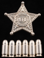 Lot of (7) .999 Fine Silver Bullion with (6) 1 Oz Bullets & (1) 5 Troy Oz Sheriff Badge at PristineAuction.com