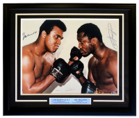 Muhammad Ali & Joe Frazier Signed 22x27 Custom Framed Photo Display (JSA LOA & Beckett LOA) at PristineAuction.com