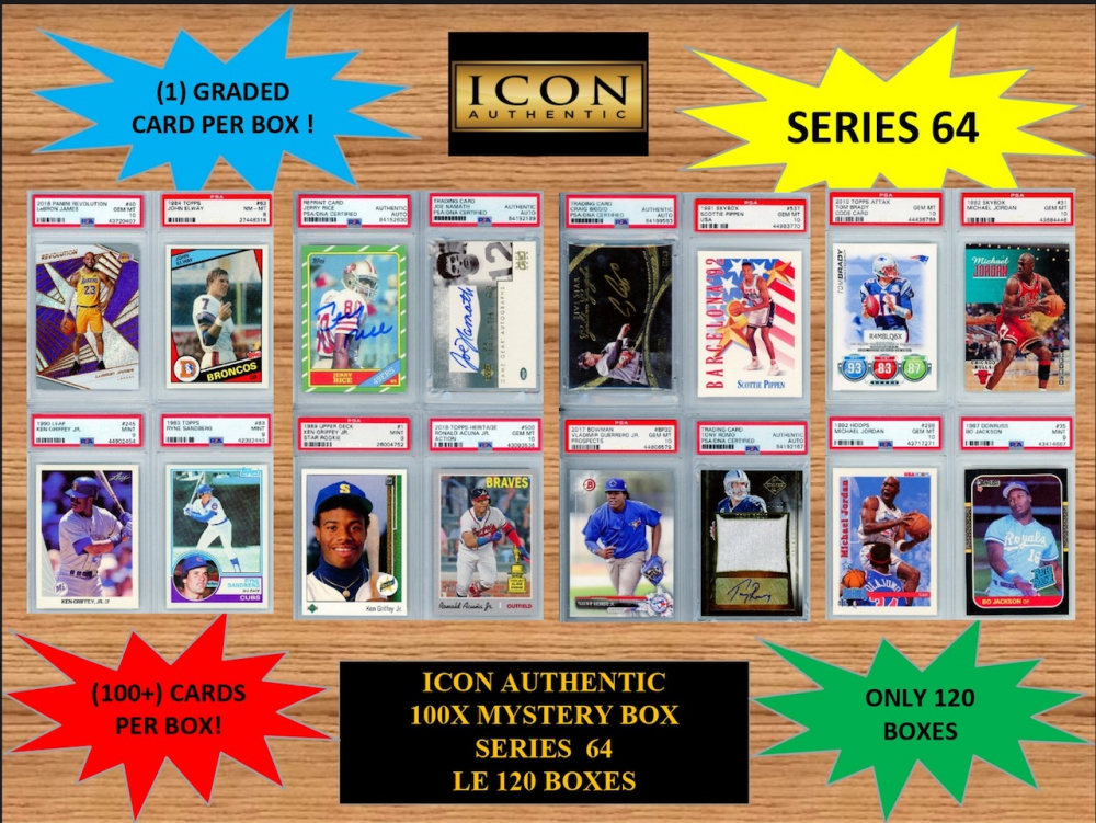 ICON AUTHENTIC  100X MYSTERY BOX SERIES 64 100+ Cards per Box at PristineAuction.com
