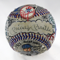 Mickey Mantle & Roger Maris Signed Yankees Hand-Painted Charles Fazzino Baseball (PSA LOA & JSA LOA) at PristineAuction.com
