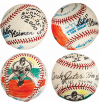 LeRoy Neiman Signed One-Of-A-Kind Hand-Painted Derek Jeter OAL Baseball with Inscriptions (PSA LOA & JSA LOA) at PristineAuction.com