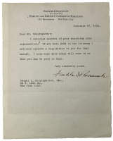 Franklin D. Roosevelt Signed 1923 Fidelity and Deposit Company of Maryland Typed Letter (Beckett LOA) at PristineAuction.com