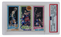 Larry Bird, Julius Erving & Magic Johnson Signed 1980-81 Topps #6 RC (PSA Encapsulated) at PristineAuction.com