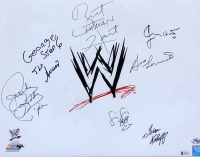 """WWE Legends 22x27 Custom Framed Photo Display Signed by """"Rowdy"""" Roddy Piper, Bruno Sammartino, Bret """"Hitman"""" Hart, """"Mouth of the South"""" Jimmy Hart (Beckett LOA) at PristineAuction.com"""