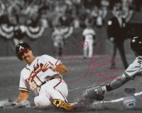 """Sid Bream Signed Braves 8x10 Photo Inscribed """"The Slide"""" & """"10/14/92"""" (Palm Beach COA) at PristineAuction.com"""