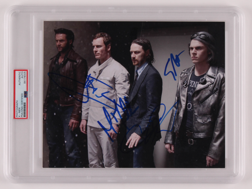 """X-Men: Apocalypse"" 8x10 Photo Signed by (4) with James McAvoy, Michael Fassbender, Hugh Jackman & Evan Peters (PSA Encapsulated) at PristineAuction.com"