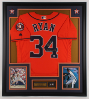 """Nolan Ryan Signed Astros 32x36 Custom Framed Jersey Display Inscribed """"Don't Mess With Texas!"""" with 1999 Hall of Fame Induction Pin (PSA COA) at PristineAuction.com"""