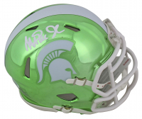Magic Johnson Signed Michigan State Spartans Chrome Speed Mini Helmet (Beckett COA) at PristineAuction.com