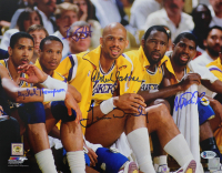 """Lakers """"Showtime"""" Team-Signed 11x14 Photo by (5) with Magic Johnson, Kareem Abdul-Jabbar, James Worthy, Mychal Thompson & Bryon Scott (Beckett COA) at PristineAuction.com"""