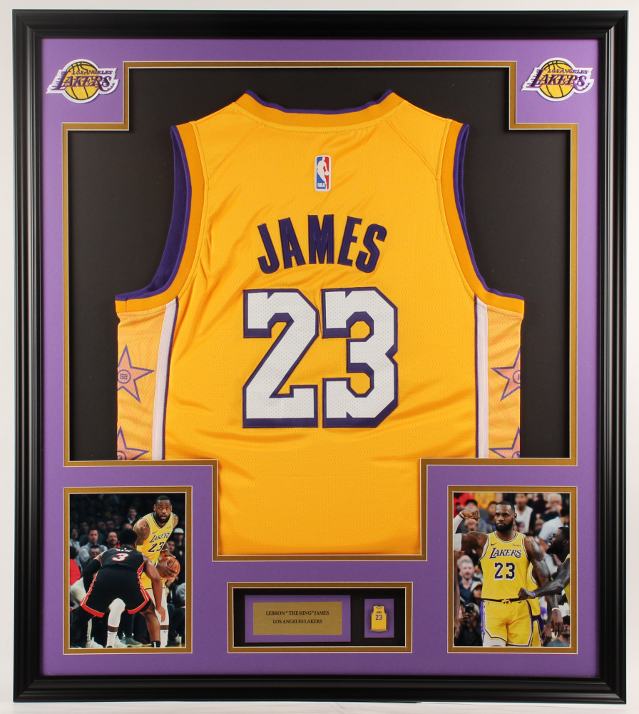 LeBron James Lakers 32x36 Custom Framed Jersey Display with James Pin at PristineAuction.com