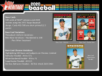 Lot of (5) 2020 Topps Heritage Baseball Blaster Boxes of (8) Packs Each at PristineAuction.com